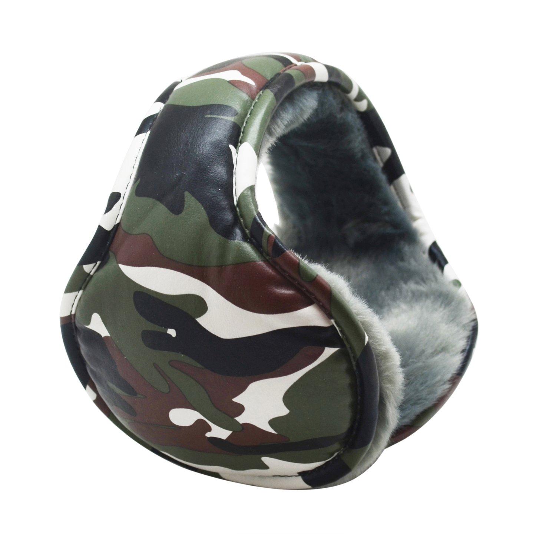 Mraw Unisex PU Leather Camouflage Foldable/Adjustable Wrap around Earmuffs