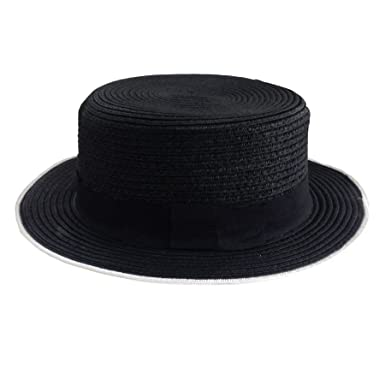 654fa558626 ACVIP Women s Summer Straw Boater Hat Sun Cap (Black with White Trim ...