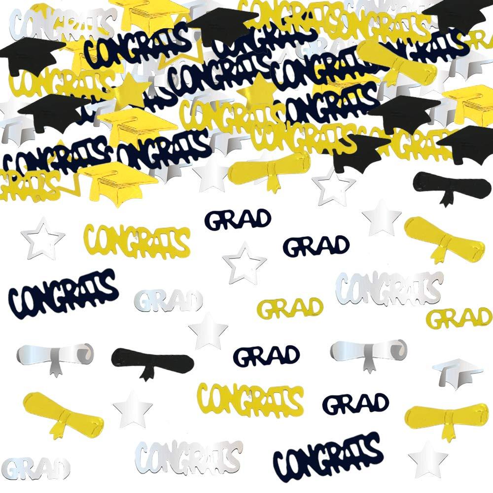 Graduation Decoration Confetti for Grad Party 1.1 oz-Congrats Graduation Cap Star Grad Diploma Gold Black Silver Mix Color