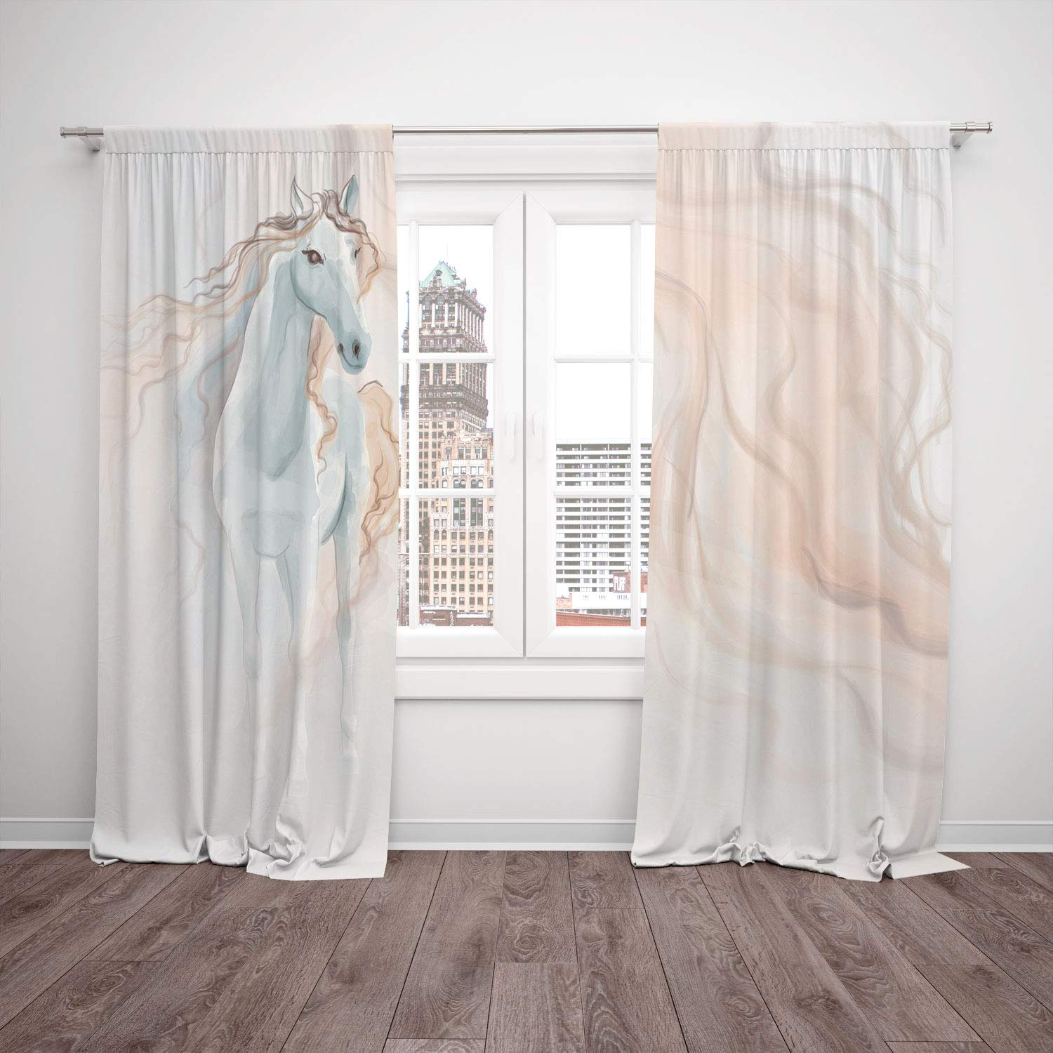 Thermal Insulated Blackout Window Curtain,Horse Decor,Watercolor Painting of a Fantasy Horse Dreamlike Abstract Wavy Lines Decorative,White Light Brown,Living Room Bedroom Kitchen Cafe Window Drapes 2