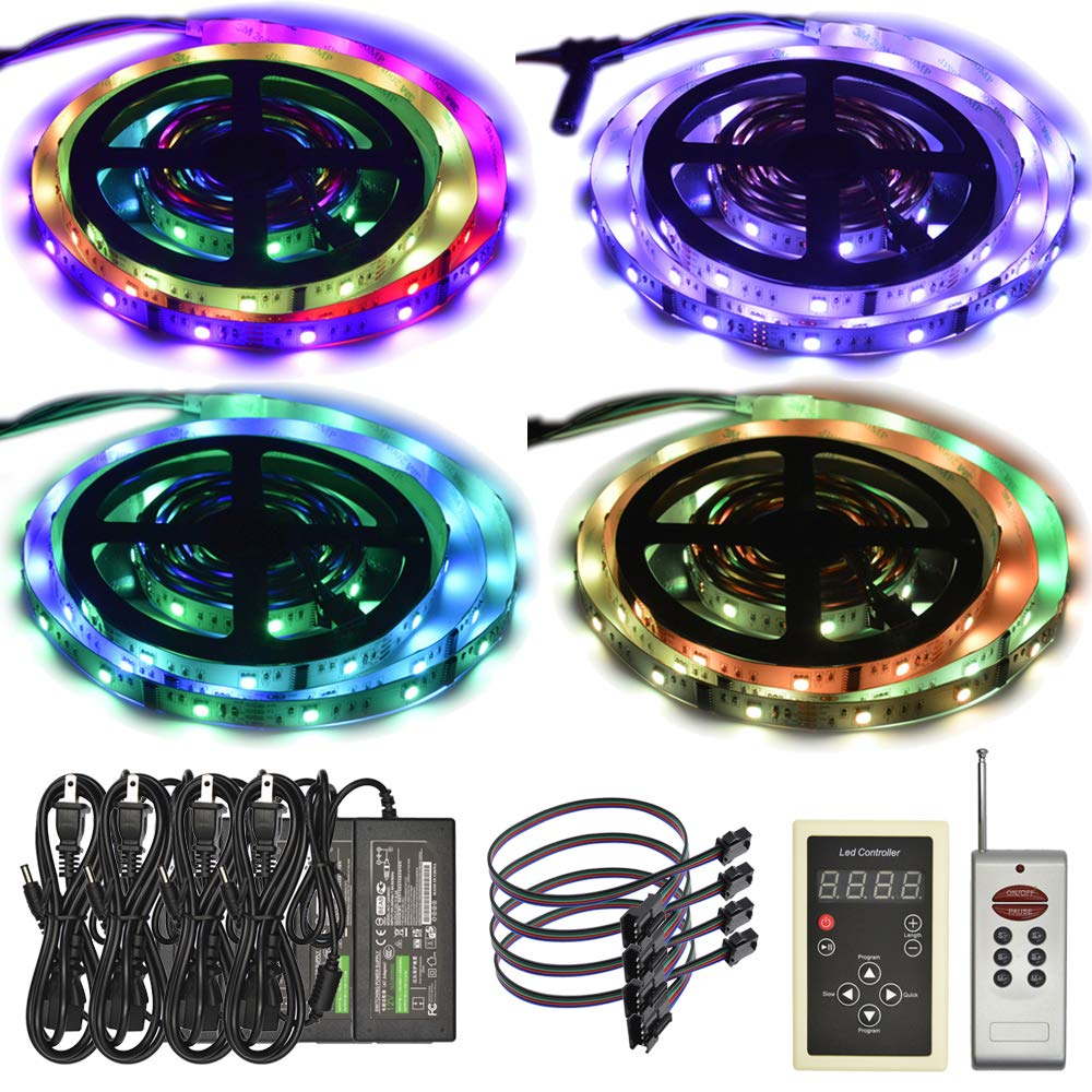6803 IC RGB Magic Dream Color Multicolors LED Strip Lights Full Set (Strip Lights + Remote Controller + Power Adapter) Non-Waterproof (20m/65ft)