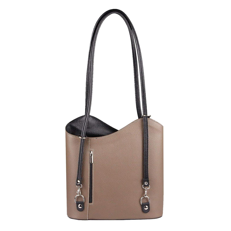 OBC Made in  Damen Damen Damen Ledertasche-Rucksack Shopper Tasche 2in1 Handtasche Umhängetasche Schultertasche Henkeltasche Backpack (Taupe-Schwarz) B01MXM4K5F Rucksackhandtaschen Online-Shop b075ee