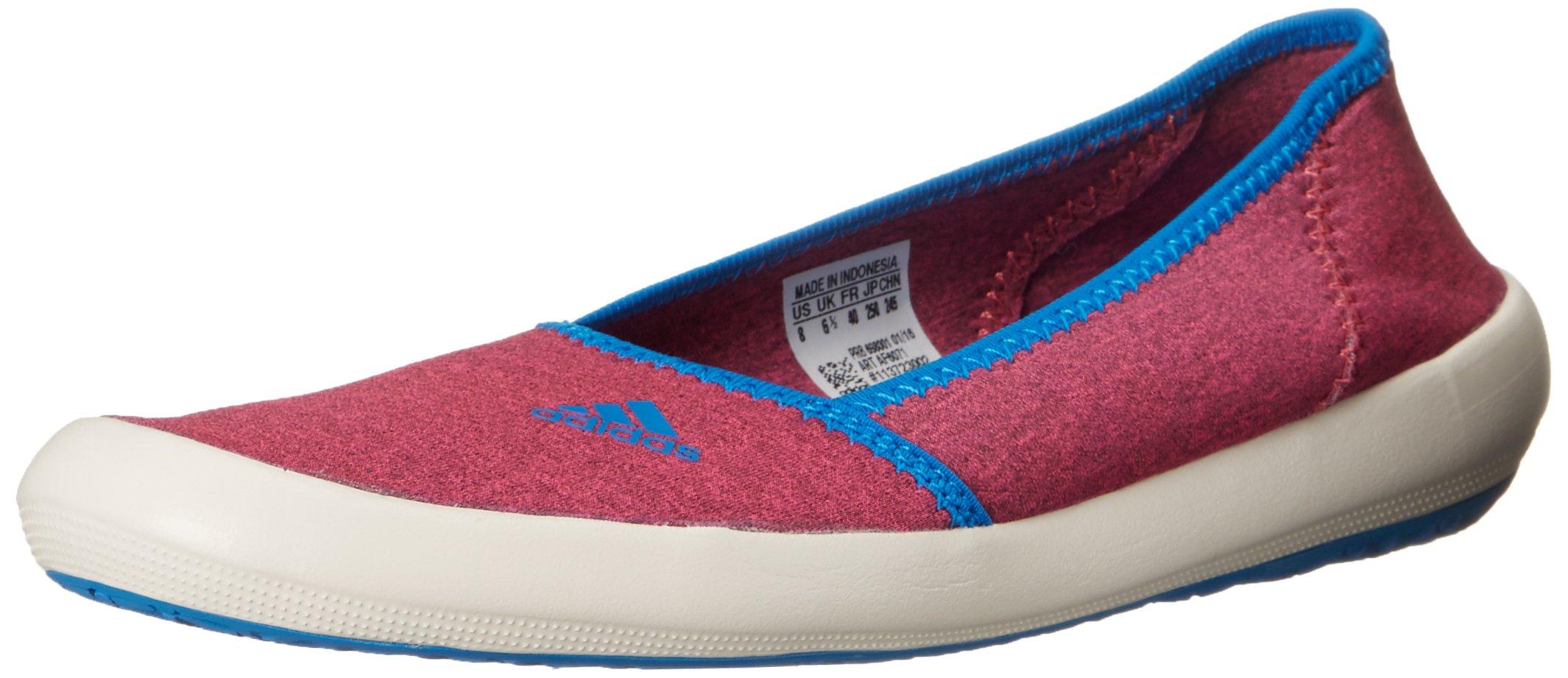 adidas outdoor Women's Boat Slip-On Sleek Water Shoe, Super Blush/chalk White/Shock Blue, 6 M US