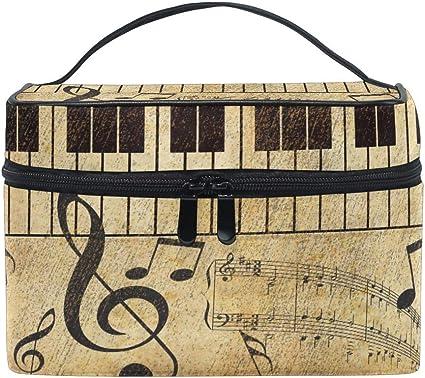 Bolsa de maquillaje de viaje Vintage Music Note Piano Keyboard Estuche de cosméticos portátil Organizador Bolsa de aseo Bolsa de maquillaje Estuche de tren para mujeres Niñas: Amazon.es: Belleza