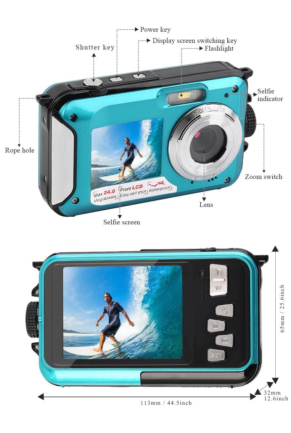 YISENCE Waterproof Digital Camera 24MP Underwater Camcorder Video Recorder FULL HD 1080P Selfie Dual Screen DV Recording … (C8) by YISENCE (Image #4)