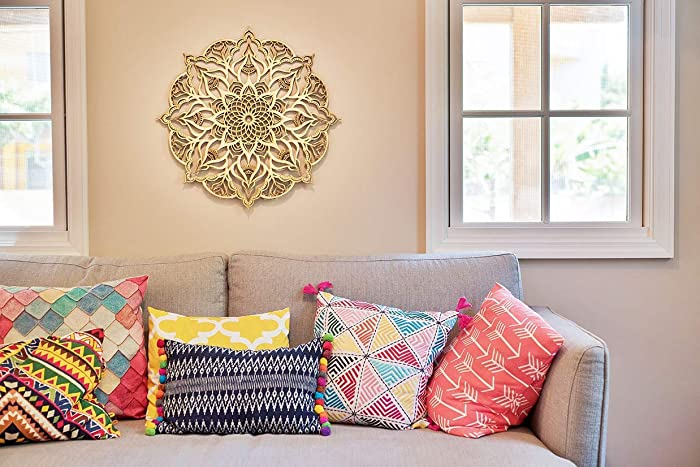 d76427963 Mandala Wood Home Decor, Geometric Indian Wall Art, Boho Ethnic  Housewarming Wall Hanging, Morrocan Handmade Spiritual Gift, Sacred  Geometry Yoga Studio