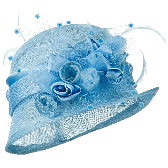 Edwardian Hats, Titanic Hats, Tea Party Hats Rosette Flower Sinamay Cloche - Blue $62.49 AT vintagedancer.com
