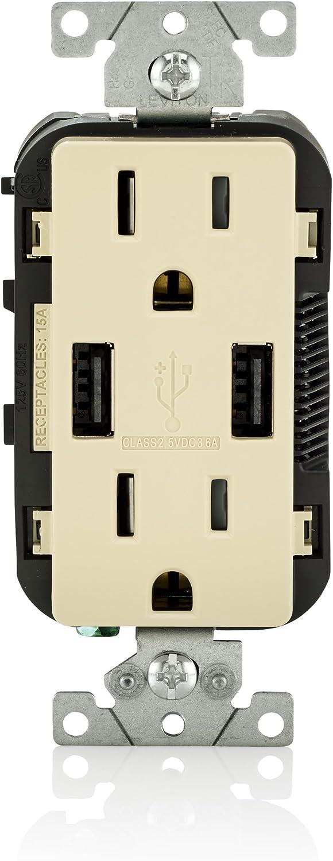 Leviton T5632-I USB Charger/Tamper-Resistant Duplex Receptacle, 15-Amp, Ivory