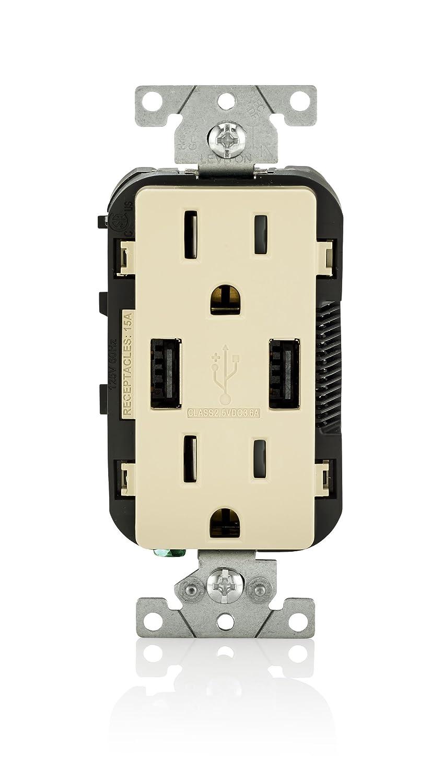 8-Pack Leviton T5632-T USB Charger//Tamper-Resistant Duplex Receptacle 15-Amp Light Almond