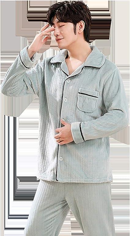 NUB Pijama Hombre Invierno Largo Set,Pijamas con Botones ...