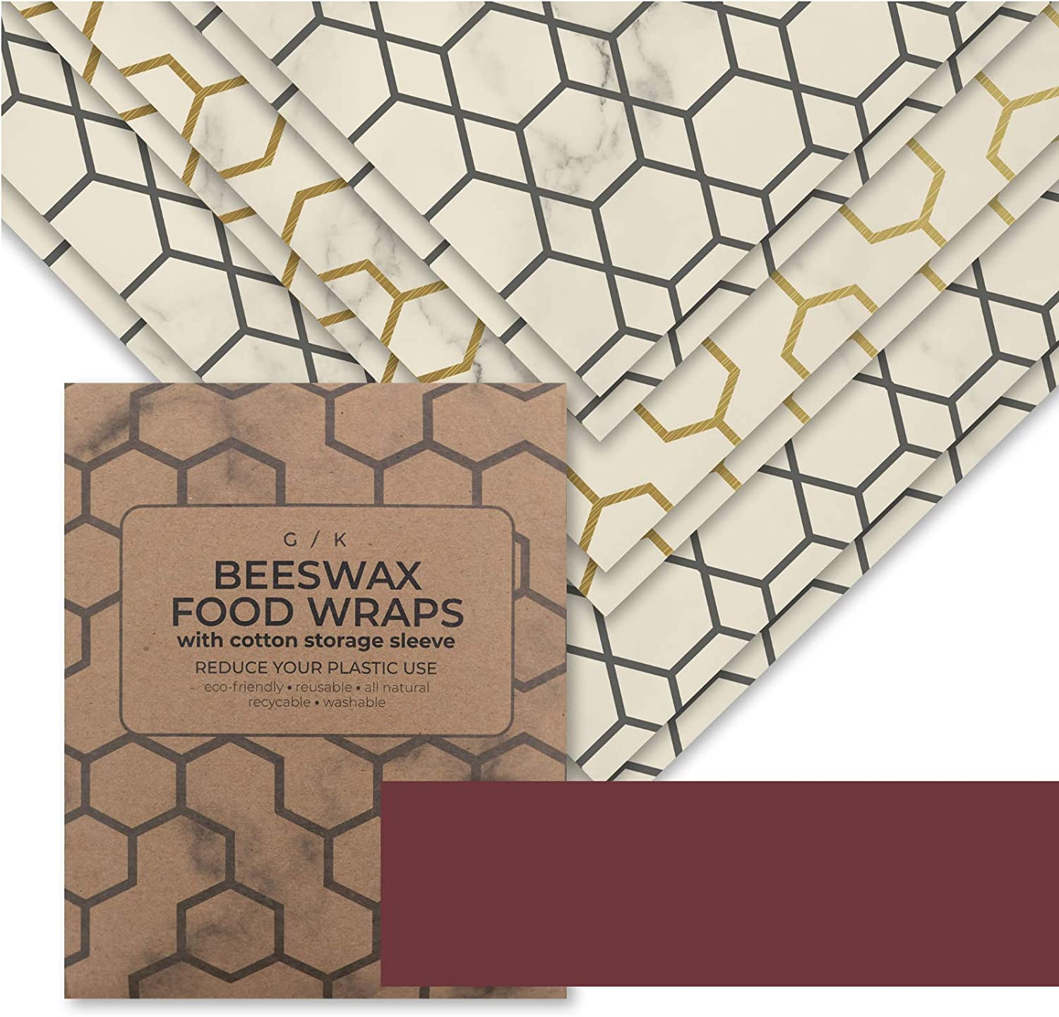 Beeswax Food Wrap - Reusable Beeswax Wrap - Eco Friendly Kitchen Wraps Replacement. Eco Friendly Gifts. 100% Organic Cotton, All Natural Food Grade Wax and Cloth. (6)