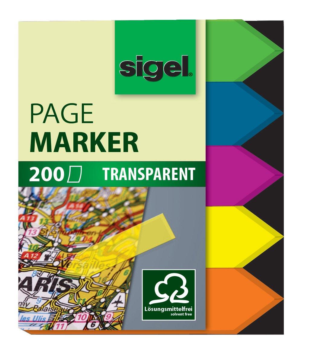 Sigel HN613 Segnapagina adesivi, rimovibili, Film, freccia, 5 colori a blocchetto, 45x12 mm, 200 fg.
