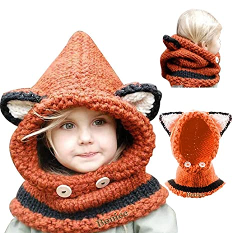8184b9affcdc Bonice Enfants Animal Casquette Manteau Tricot Capuche Cagoule Hiver en  Laine tricotés Chapeaux bébé des Filles
