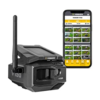 Amazon.com: VOSKER V150-V | LTE Cellular Security Camera, No WiFi Needed | Solar-Powered Wireless Outdoor Surveillance Camera | Receive Photos on Your Mobile App from Virtually Anywhere | Weather-Resistant IP65: Industrial &