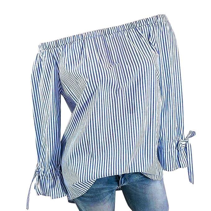 Tefamore Blusas Mujer, 2018 Nuevo Off Hombro Rayado Impreso T-Shirt Camisetas