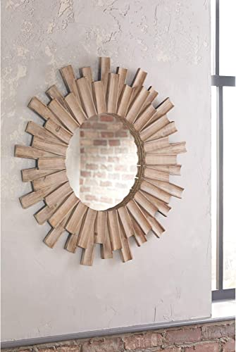 Signature Design by Ashley – Donata Wall Mirror – Casual – Natural Wood Finish