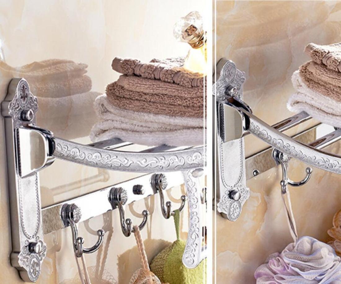 GL&G European luxury Silver Bathroom Bath Towel Rack Double Towel Bar Bathroom Accessories Bathroom Storage Organizer Shelf Bathroom Shelf Shower Wall Mount Holder Towel Bars,6023.513.5cm by GAOLIGUO (Image #2)