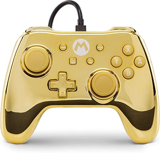 Mando con cable PowerA para Nintendo Switch Mario Oro: Amazon.es ...