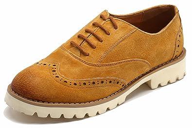 SimpleC Damen Suede Rindsleder Lace up Comfort Oxford Schuhe Freizeitschuhe Ultra-Light Wanderschuhe Laufschuhe...