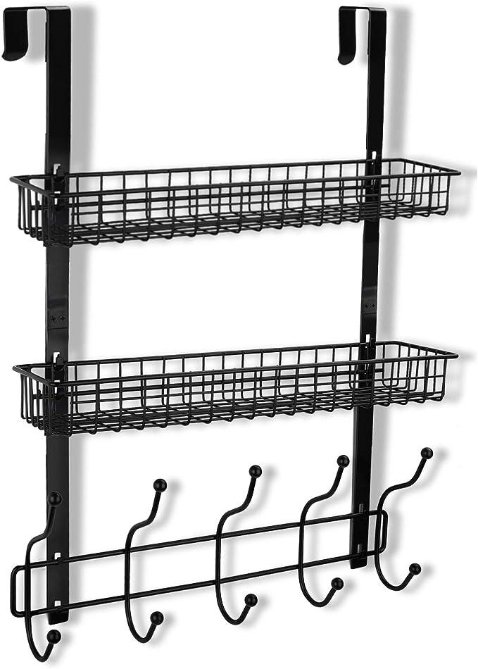 Amazon Com Keimix Coat Rack Over The Door Hanger With Mesh Basket Detachable Storage Shelf Organizer For Towels Hats Handbags Coats Black 2 Layer Office Products