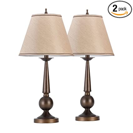Amazon globe electric set of two 27 table lamps bronze finish globe electric set of two 27quot table lamps bronze finish beige shades aloadofball Gallery
