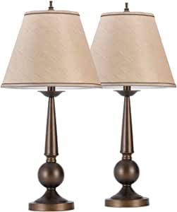 "Set of Two 27"" Table Lamps, Bronze Finish, Beige Shades,12398"