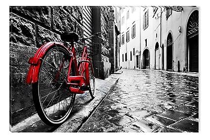 Startonight Cuadro sobre Lienzo en Blanco y Negro Bicicleta Roja ...
