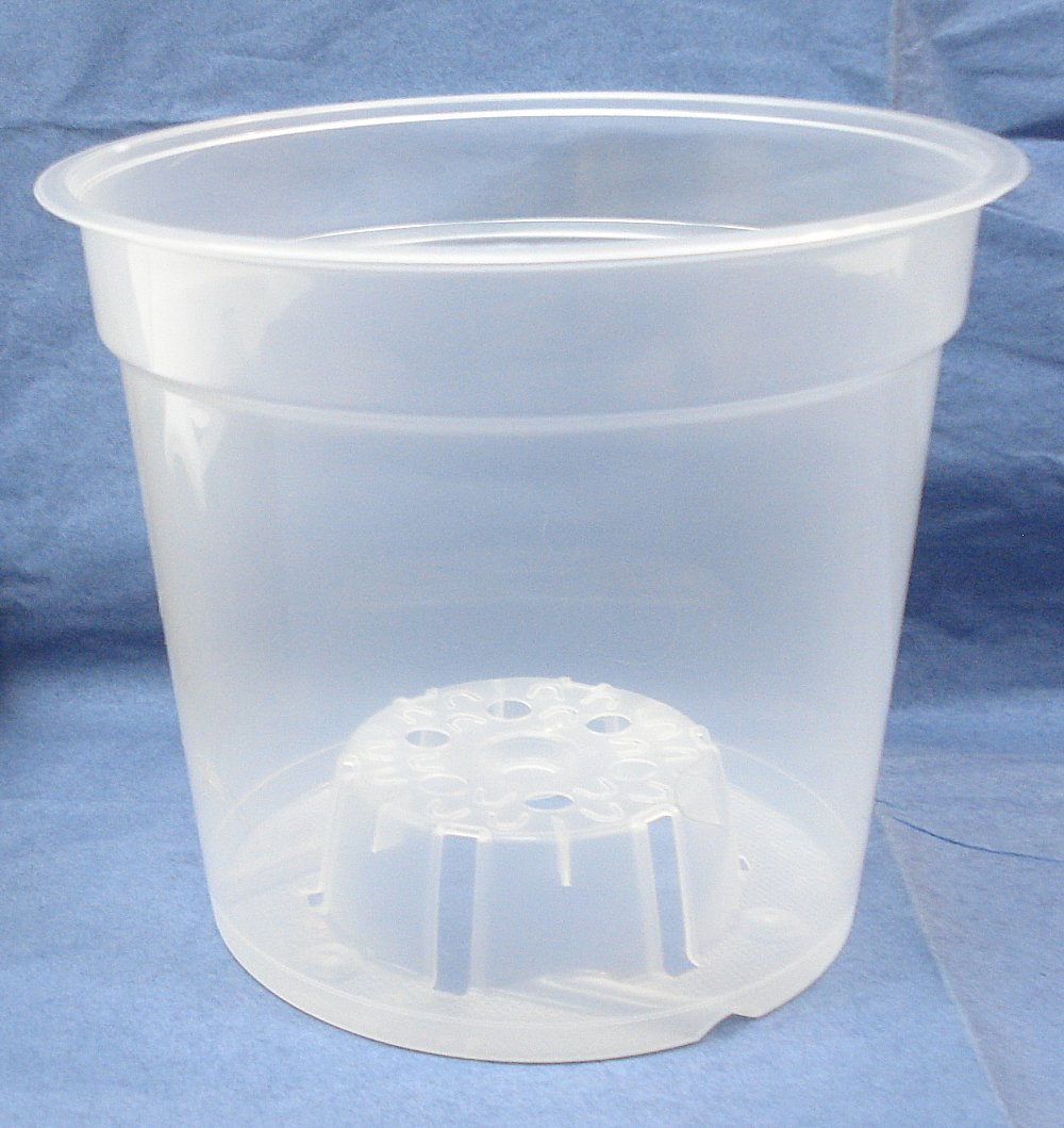 6'' Inch Round Clear Plastic Orchid Pot - 5 Pack by Clear Pots