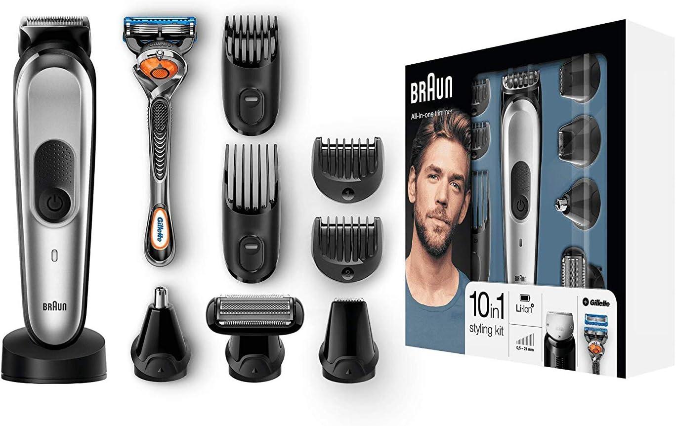 Braun MGK7020 10 en 1, Máquina recortadora barba y cortapelos todo en uno con afeitadora cuerpo, nariz y orejas, afeitadora mini, detalles, color negro/plata