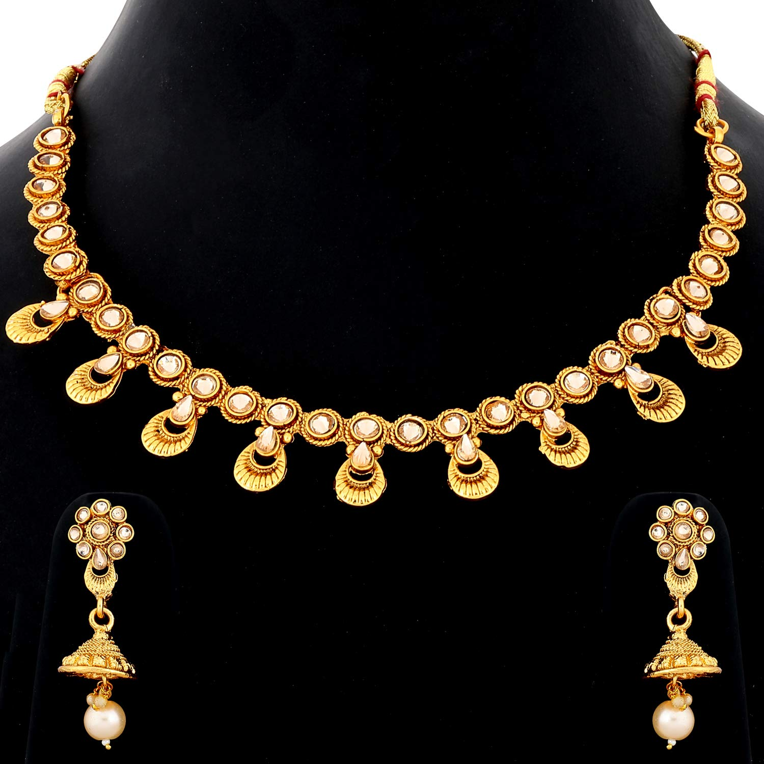 Buy Silver Shine Exclusive Traditional Gold Plated White Kundan