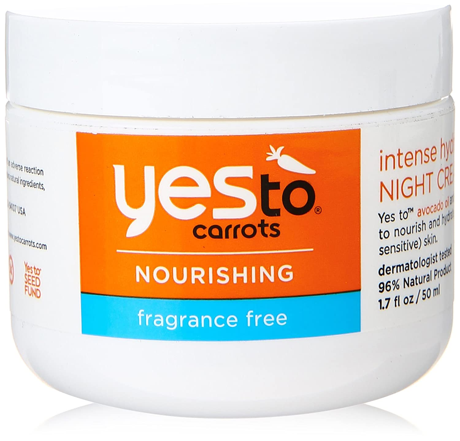 Yes To Carrots Fragrance-Free Intense Hydration Night Cream, 1.7 Fluid Ounce