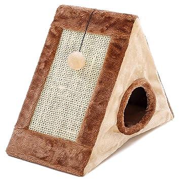 laamei Rascador para Gatos, 2 en 1 Casa de Gatos con Alfombrilla Rascador con Bola