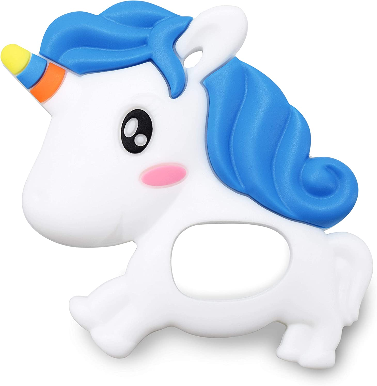 sweetbee Dreamy Unicorn Multi-Textured, Soft & Soothing, Easy-Hold, Silicone Teether Toy (BPA Free, Freezer & Dishwasher Safe) (Dreamy Unicorn)