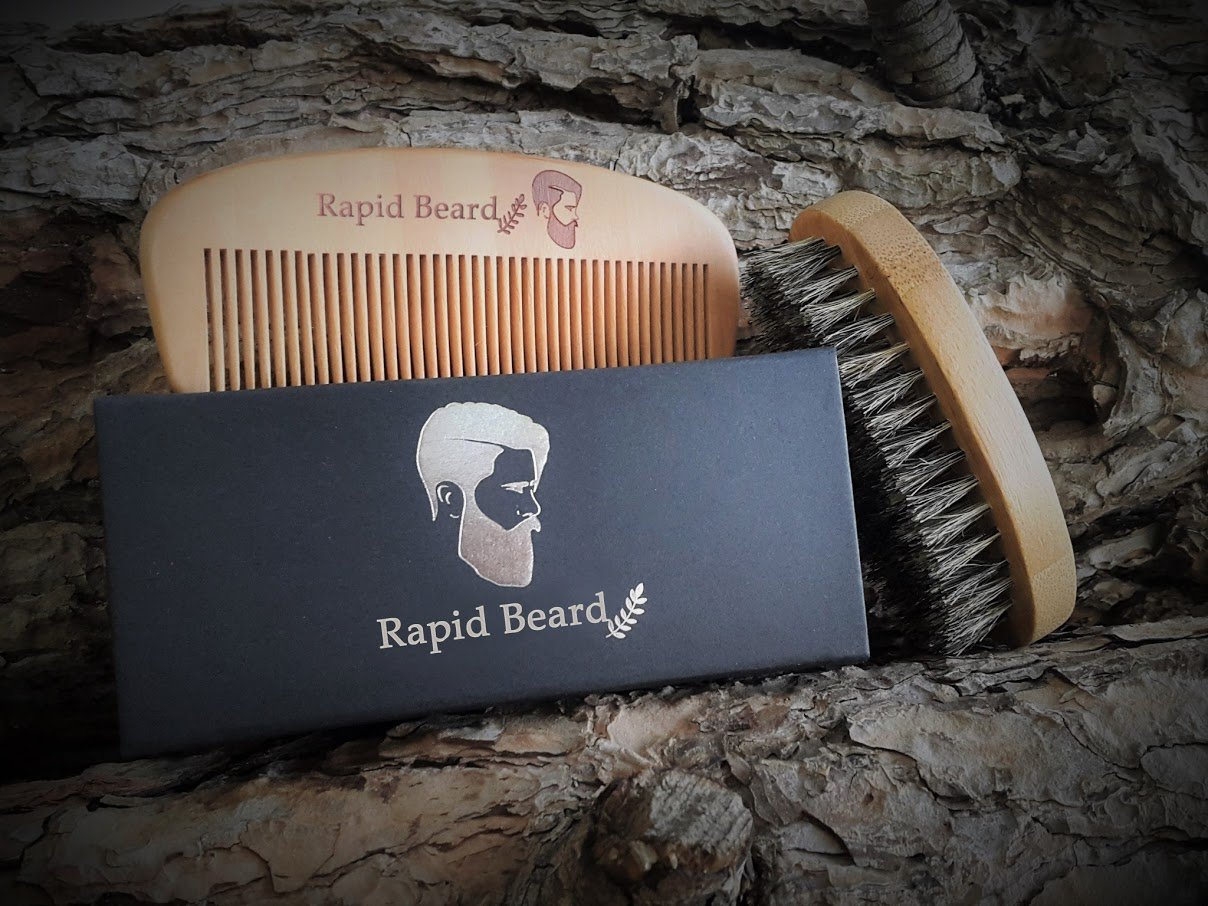 Beard Brush and Beard Comb kit for Men Grooming, Styling & Shaping - Handmade Wooden Comb and Natural Boar Bristle Beard Brush Gift set for Men Beard & Mustache Care by Rapid Beard by Rapid Beard (Image #7)