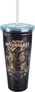 Harry Potter Hogwarts Travel Cup with Straw - Acrylic Tumbler with Gold Hogwarts Crest Design - 22 oz