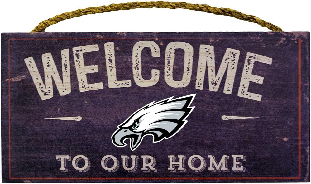 "Fan Creations Welcome Philadelphia Eagles Distressed 6 x 12, 6"" x 12"", Multicolored 71I4felc2LL"