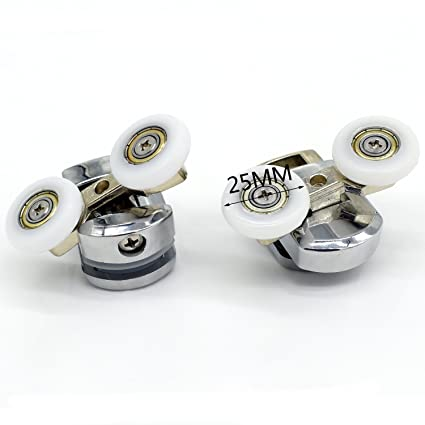 Repuesto ruedas para mampara de ducha cromo – 2 x diámetro de 25 mm