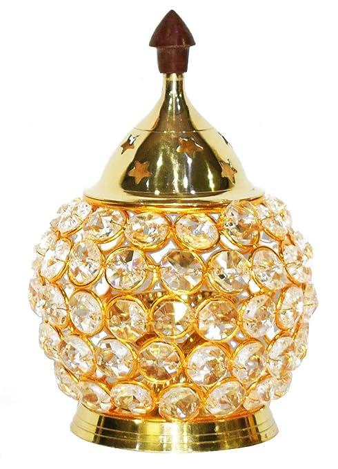 Lantern Craftsman Chimney Glass Akhand Diya 6.7 inch Decorative Brass Oil Lamp for Whole Night Diwali//Deepawali Decoration Tea Light Holder Oil Lamp Puja Lamp