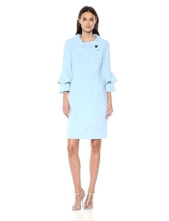 a1d7adf16233 Tahari by Arthur S. Levine Women's Long Sleeve Sheath Dress with Foldover  Neck, ice