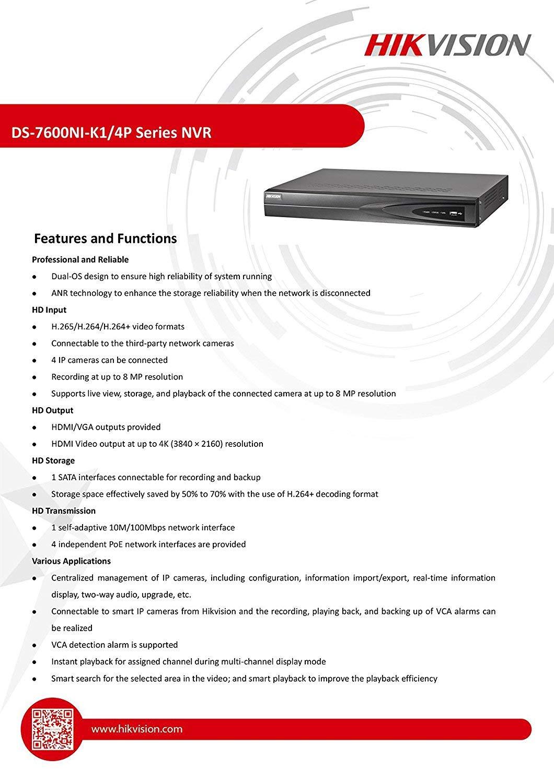 4CH HIKVISION 8MP NVR 4K UHD DIGITAL SECURITY SURVEILLANCE R ( NO HDD )