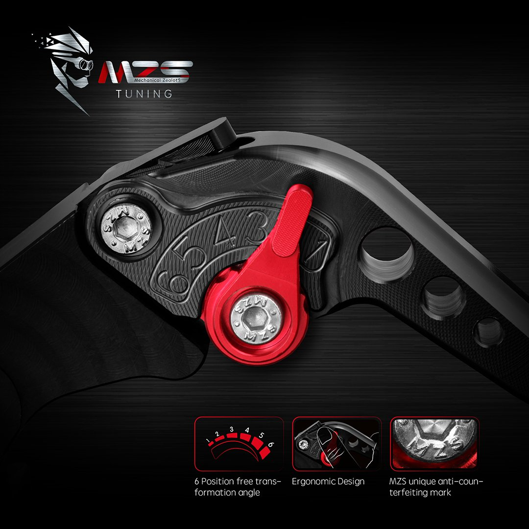 MZS Short Brake Clutch Levers for Yamaha FZ-09 MT-09 SR 2014-2018// SCR950 2017-2018// XJ6 DIVERSION 2009-2015// XSR 700 ABS 2016-2018// XSR 900 ABS 2016-2018// XV 950 Racer 2016-2018 Gold Yamaha Brake Clutch CNC Short Levers