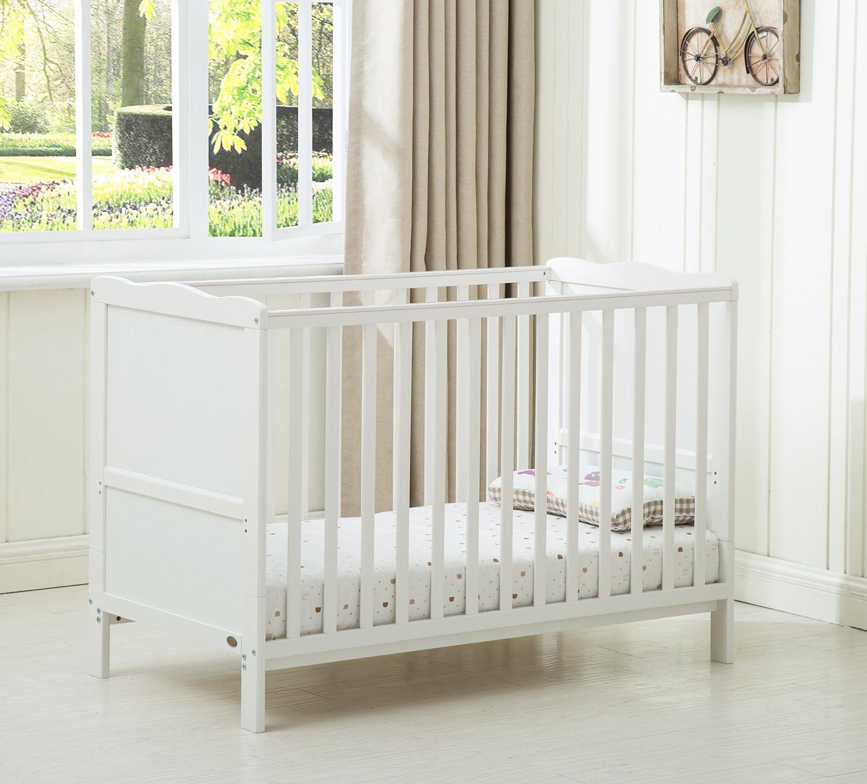 Mcc® Orlando - Cuna con lados, cama cuna para niños con colchón repelente al agua, cama de madera con bebé cambiando superficie (color blanco)