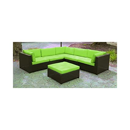 Black Resin Wicker Outdoor Furniture Sectional Sofa Set   Lime Green  Cushions