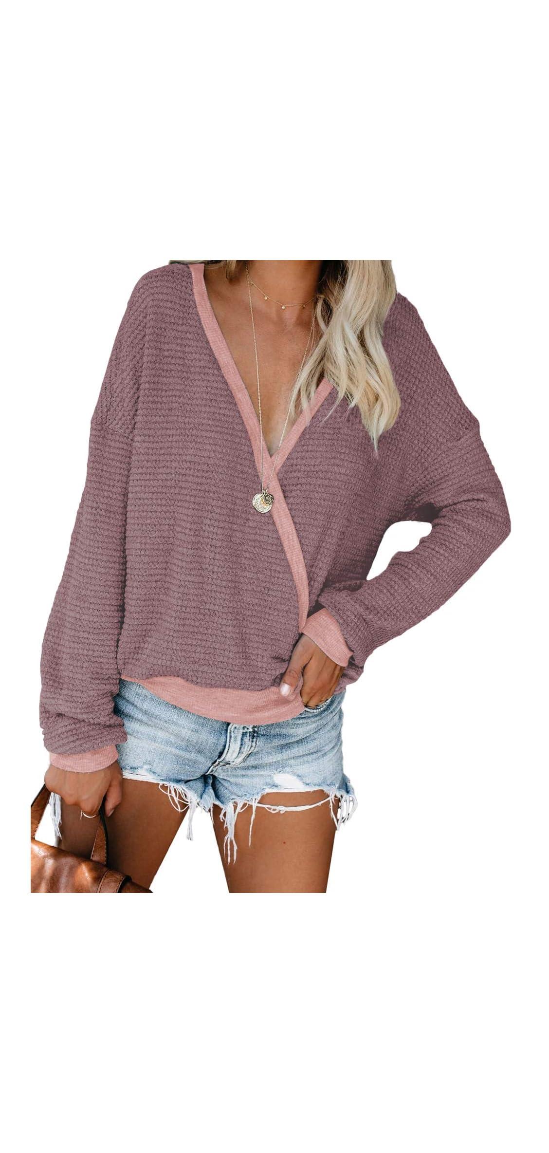 Womens Deep V Neck Wrap Sweaters Long Sleeve Waffle Knit