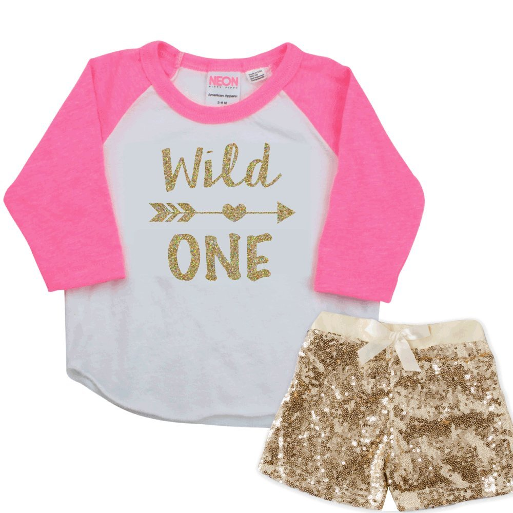 23516ec70 Who is the cutest one year old around? She will be! In this adorable glitter  gold baby girl first birthday shirt and shorts