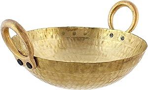 Golden Drops Indian Traditional Kitchen Cooking Utensil Brass Regular Karahi Kadai Pots & Pan Cooking Woks Capacity 1.5 Liter