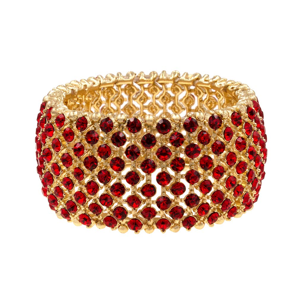 Lavencious Tennis Rhinestone Stretch Bracelets Bridal Evening Party Jewelry for Woman Bangle (Gold - Red)