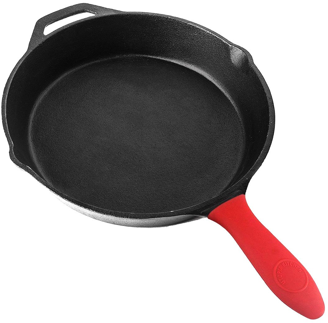 Utopia Kitchen Pre-Seasoned Cast Iron Skillet with Silicone Hot Handle Holder - 10.25 Inch UK0039