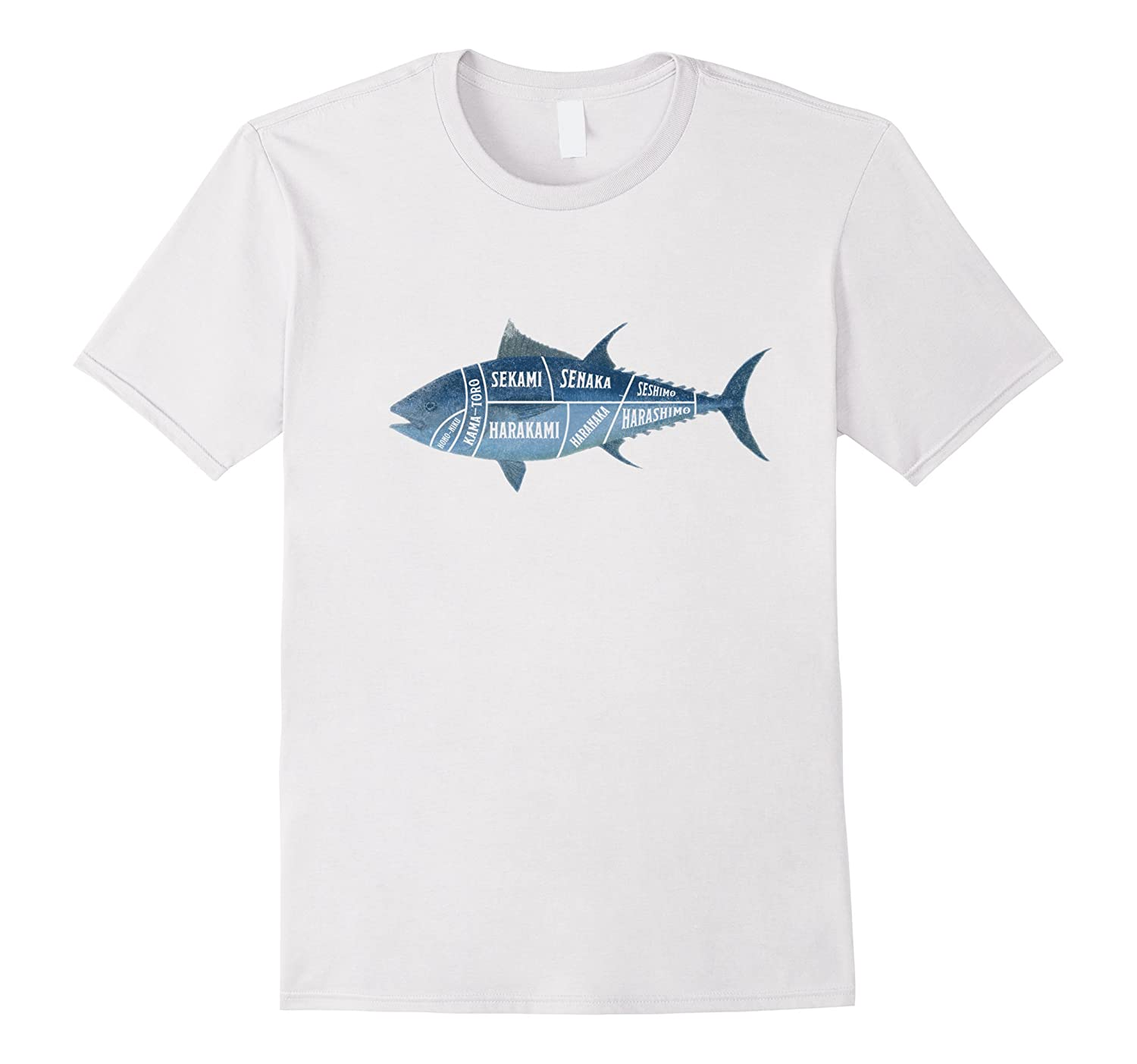 Tuna Fish Cut Anatomy Sushi Sashimi T Shirt Japanese Food-CD – Canditee