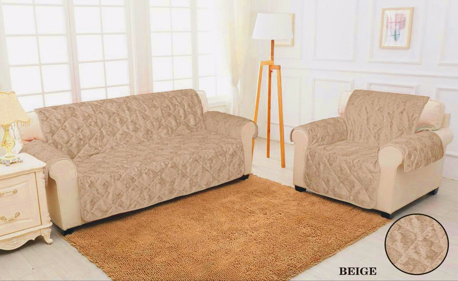 2 SEATER SOFA COVER - BEIGE Quilted Jacquard Pet Protector Sofa Slip Cover HOME COMFORTS